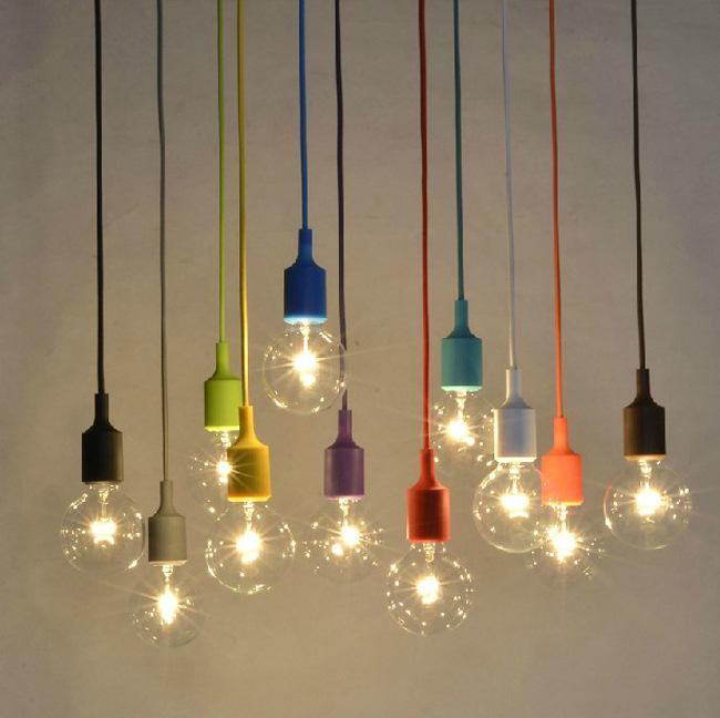 Colorful Silicone Pendant Light E27 Holder Edison Incandescent Bulb Modern Fashion DIY Pendant Lamp 100cm Cord Ceiling Base