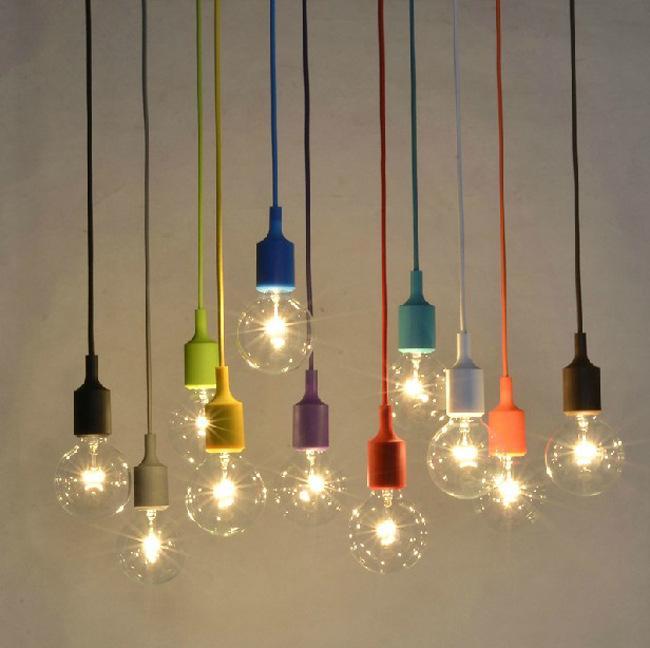 Colorful Silicone Pendant Light E27 Holder Edison Incandescent Bulb Modern Fashion DIY Pendant Lamp 100cm Cord Ceiling Base