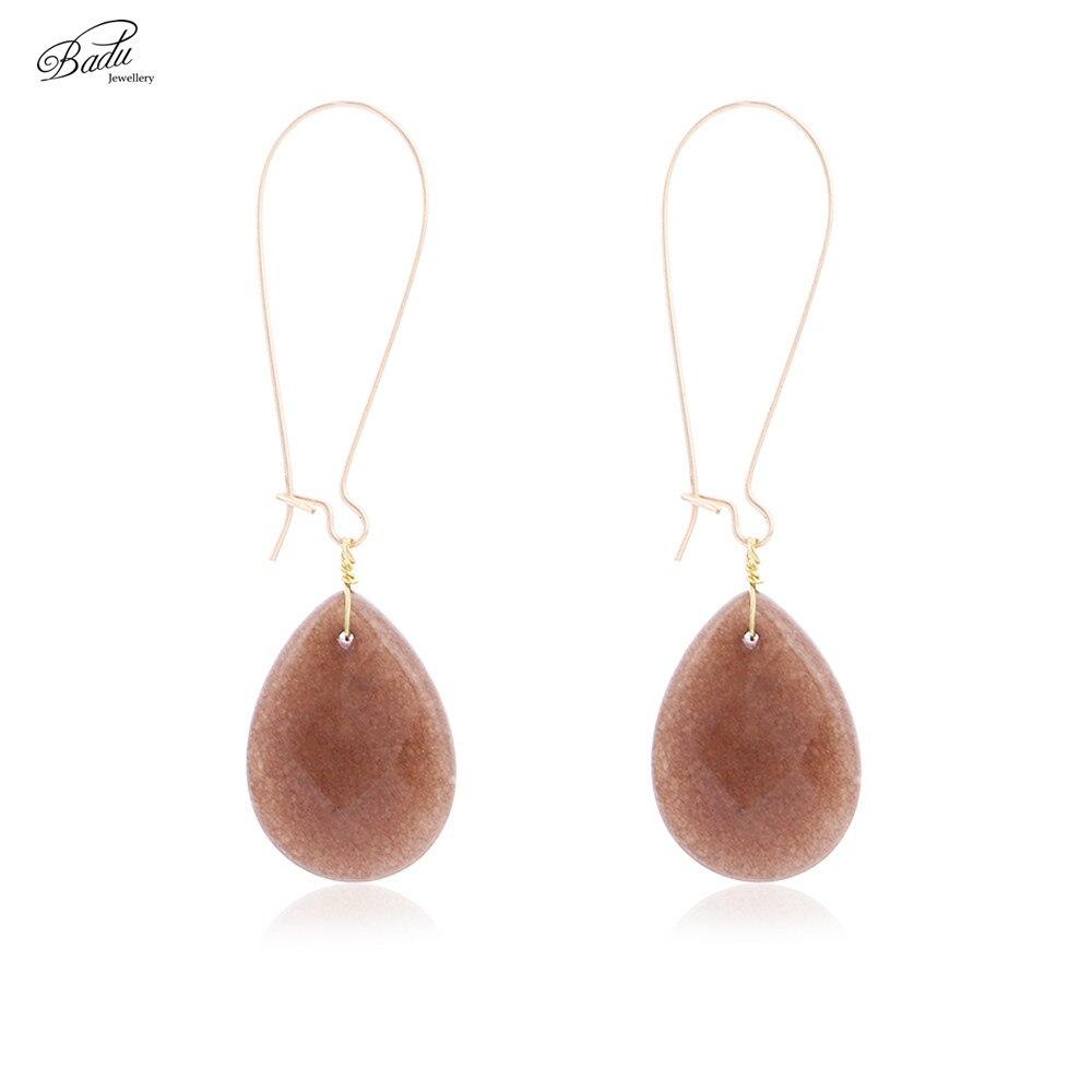 Badu Natural Stone Earring Long Drop Water Gold Copper Dangle Earrings Women Vintage Brown Pendientes