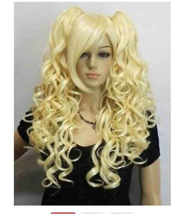 Yu Ying Wig Fashion Rambut Pirang Panjang Keriting Cosplay Wig Penuh + Dua Kuncir
