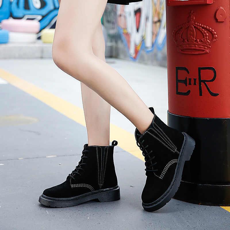Kadın çizmeler hakiki deri yarım çizmeler kadınlar için 2019 yeni sonbahar süet Martin çizmeler kadın İngiliz tarzı tek ayakkabı