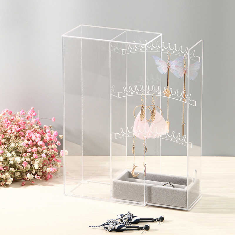 High-grade Acrylic Earring Display Stand Organiser Holder Necklace Earring Studs Storage Clear Jewelry Organizer Box Stand Rack