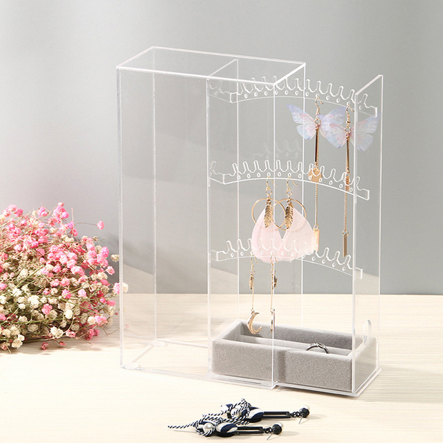 High Grade Acrylic Earring Display Stand Organiser Holder Necklace Studs Storage Clear Jewelry Organizer