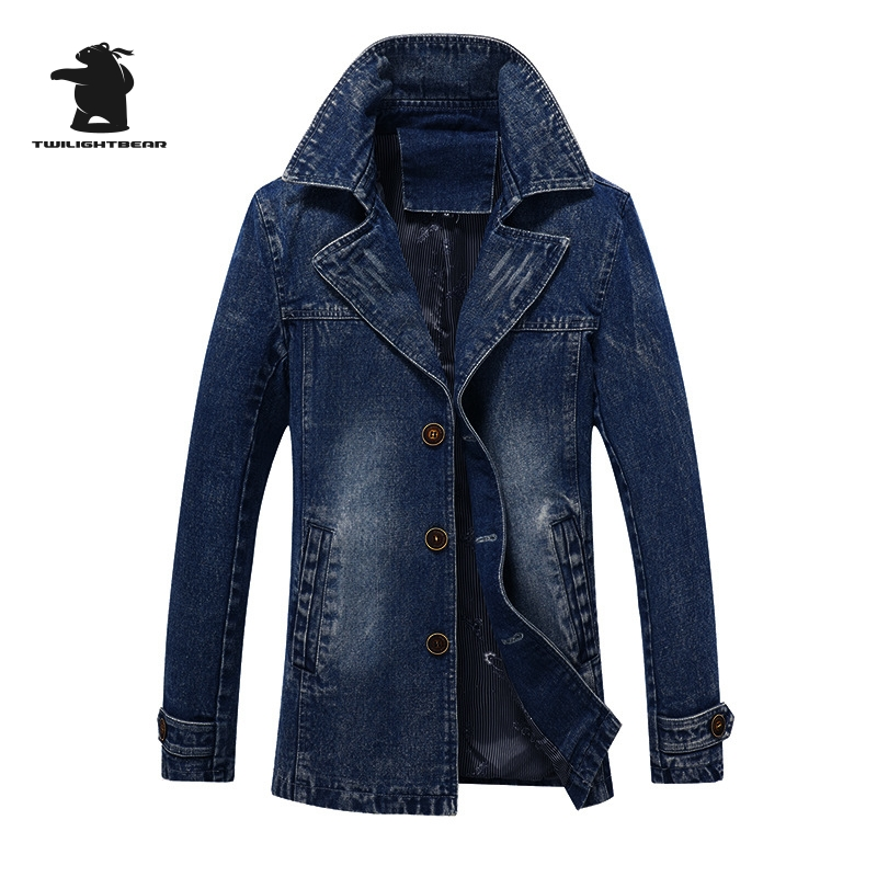 Popular Denim Trench Coat Men-Buy Cheap Denim Trench Coat Men lots ...