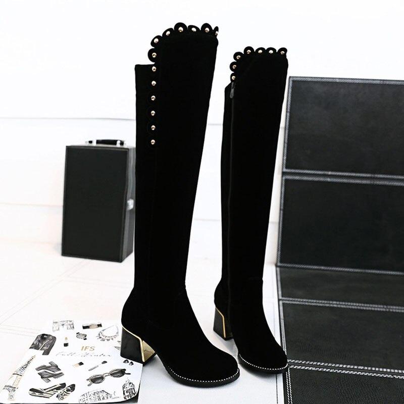 Зимние Для женщин обувь большого размера длинные сапоги выше колена в римском стиле; из флока; молния круглый носок туфли на высоком каблуке, из флиса, держать червя внутри с украшением в виде кристаллов
