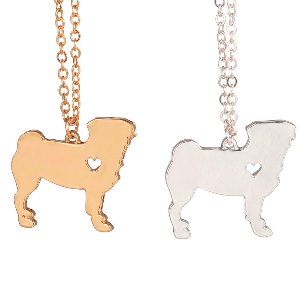 Gold silver necklace explosion models cute pug dog necklace animal jewelry necklace dog lovers to the