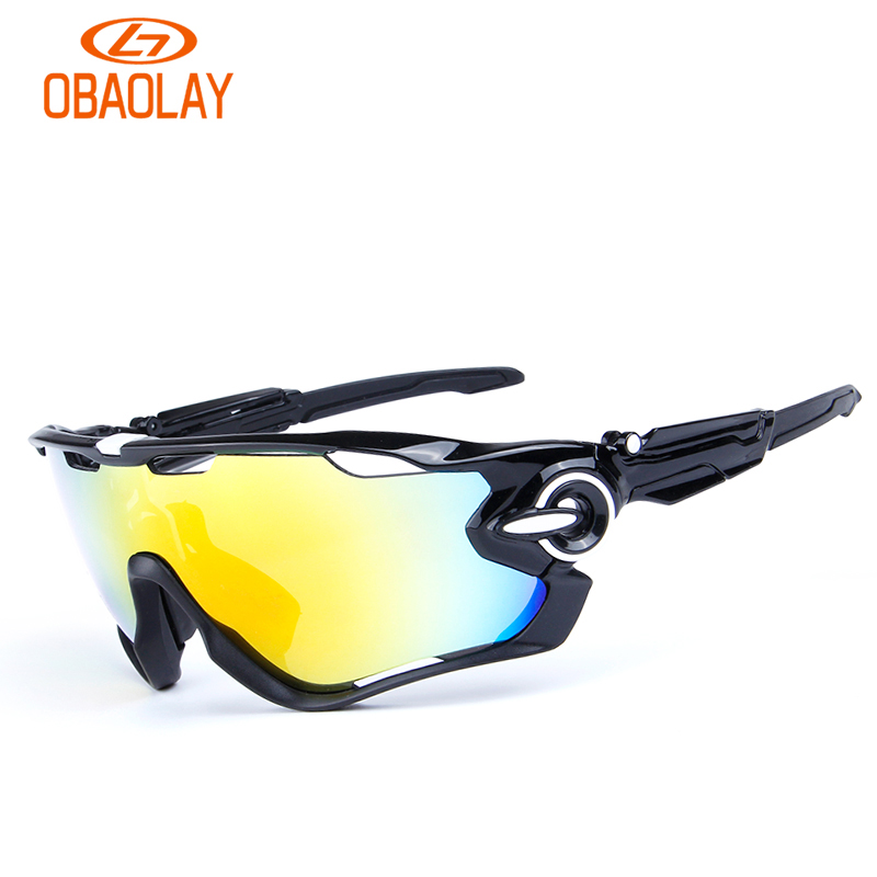 OBAOLAY Outdoor Cycling Sunglasses Polarized Bike Glasses 5 Lenses Mountain Bicycle UV400 Goggles MTB Sports Eyewear for Unisex hot 18k gold frame and uv400 lens double m famous car brand the monarch i sunglasses for man mercedes square frame g wa z03