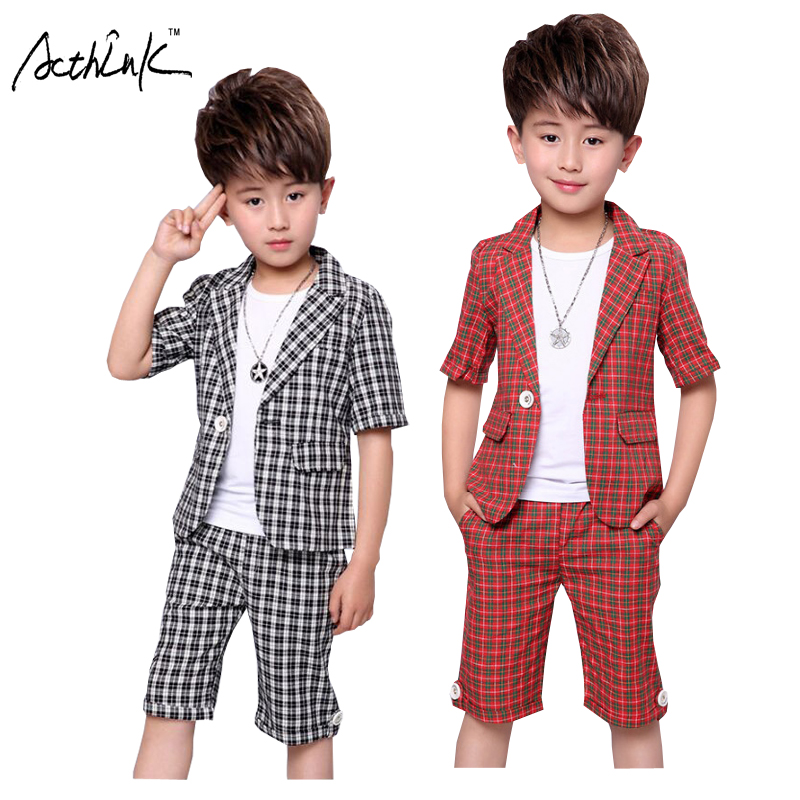ActhInK New Summer Children 2Pcs Plaid Short Sleeves Suit Kids England Style Blazer Suit Boys Formal Wedding Clothing Set, ZC080 2 pieces set 2017 summer children set children s leisure clothing boy suit vest kids boys shirt cloth wedding formal clothing