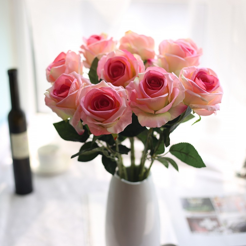 1ks Umělé květiny Vivid Flannel Rose Květinové Svatební družička Hydrangeas Květiny Květinové Svatební Party Home dekorace