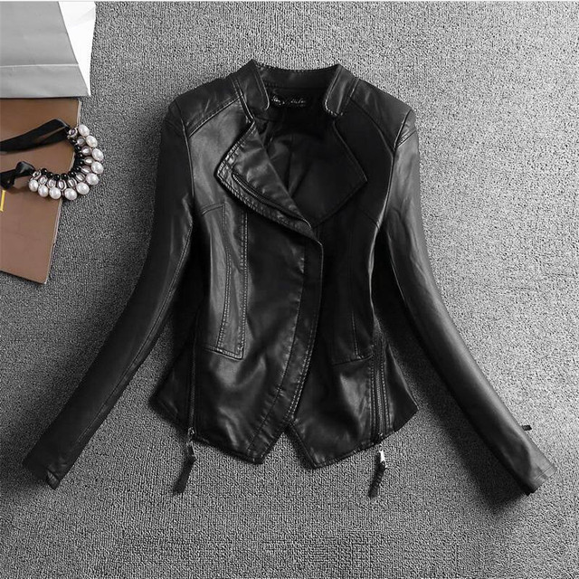 2016Autumn And Winter Women's Single Washed PU Leather Motorcycle Jacket Slim Female Short Paragraph Leather Large Size A2756