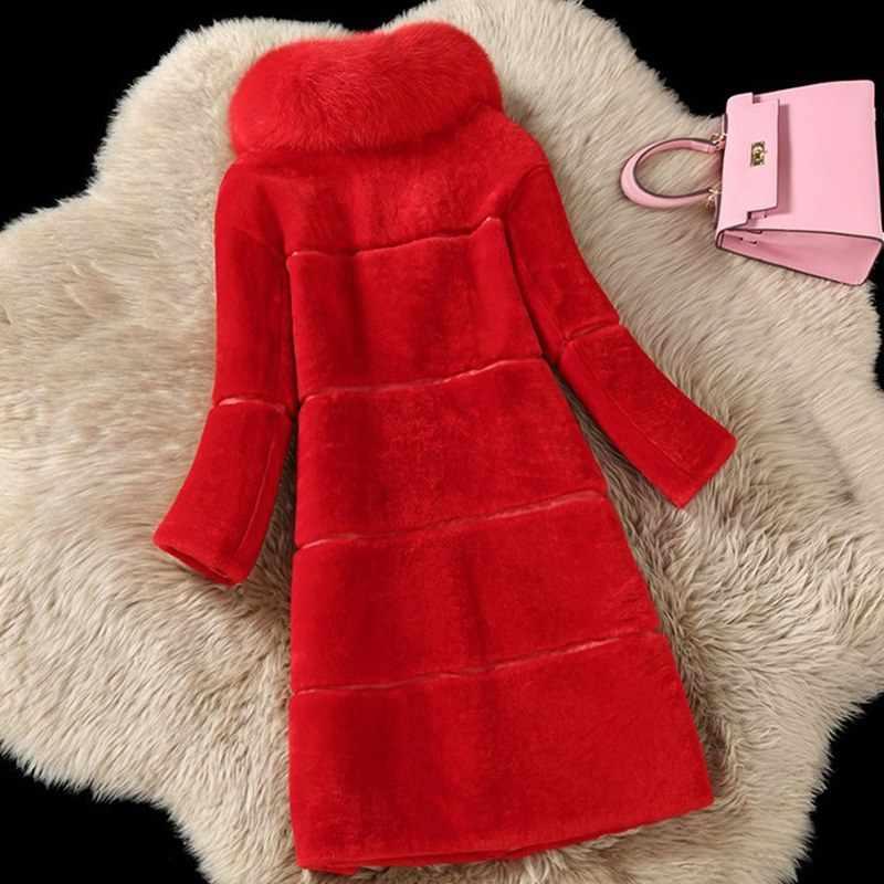 Koyun Kesme Kadınlar Fox Kürk Yaka Ceket 2018 Sonbahar Kış Yeni Faux Kürk Yün Ceket Kadın Uzun Sıcak Deri Giyim YP1202