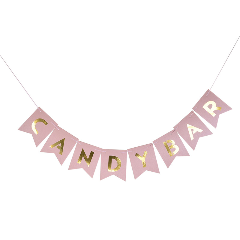 Art Kraft Paper Candy Bar Bunting Banner Wedding Party Signs Candy Buffet Kids Boy Girl Birthday Decoration Event Supplies
