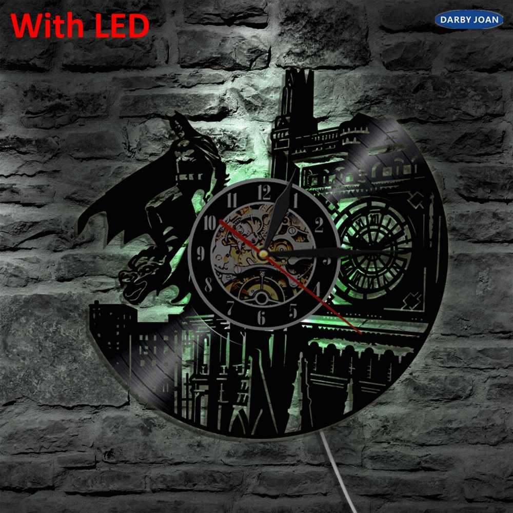 バットマンダークナイト3d ledビニールクロック壁光バックライトカラー変更ヴィンテージlp手作りの装飾アートランプリモコン