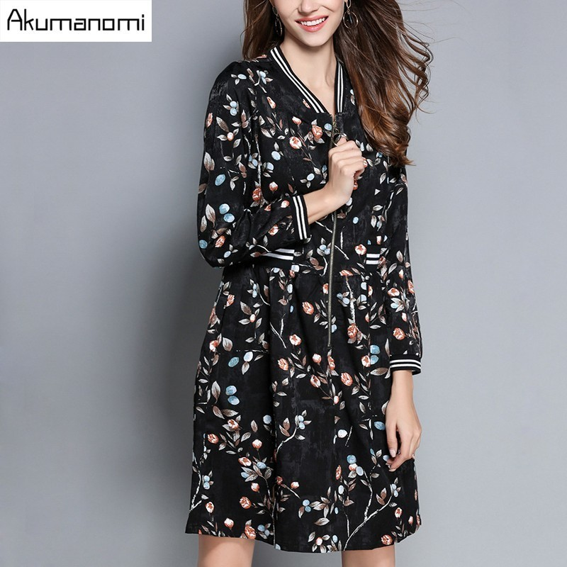 Autumn Winter Dress Mandarin Collar Ribbed Cuffs Full Sleeve Pleated Print Women Clothes Spring Dress Plus