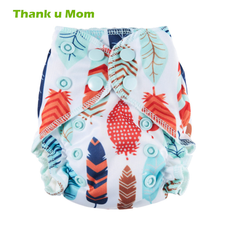 Thank U Mom Organic Cotton Newborn Cloth Diapers Double Gussets Washable Diapers AIO Fit 3-5KG Baby Reusable Baby Cloth Nappies