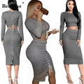 RealShe Women's O Neck Crop Tops And Skirt Set Women Lace Up Long Sleeve Tracksuit Tracksuits Women's Sweater Knit Dress