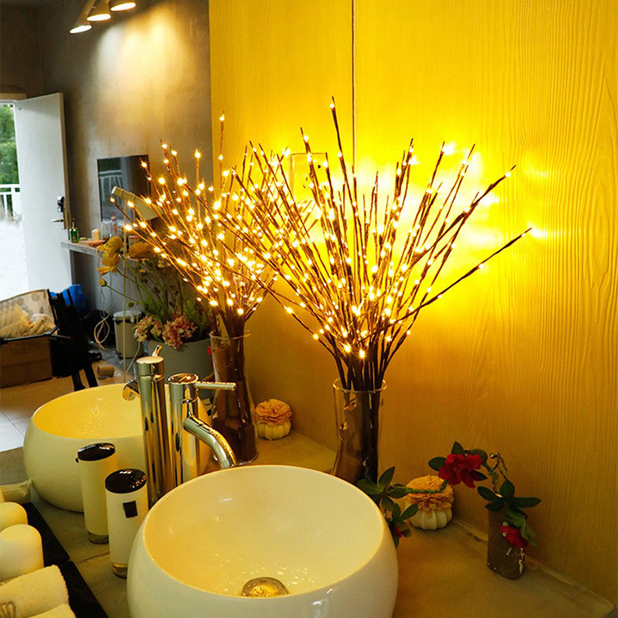 20leds 70cm LED Willow Branch Lamp Battery Powered Natural Tall Vase Filler Willow Twig Lighted Branch Wedding Decorative Lights