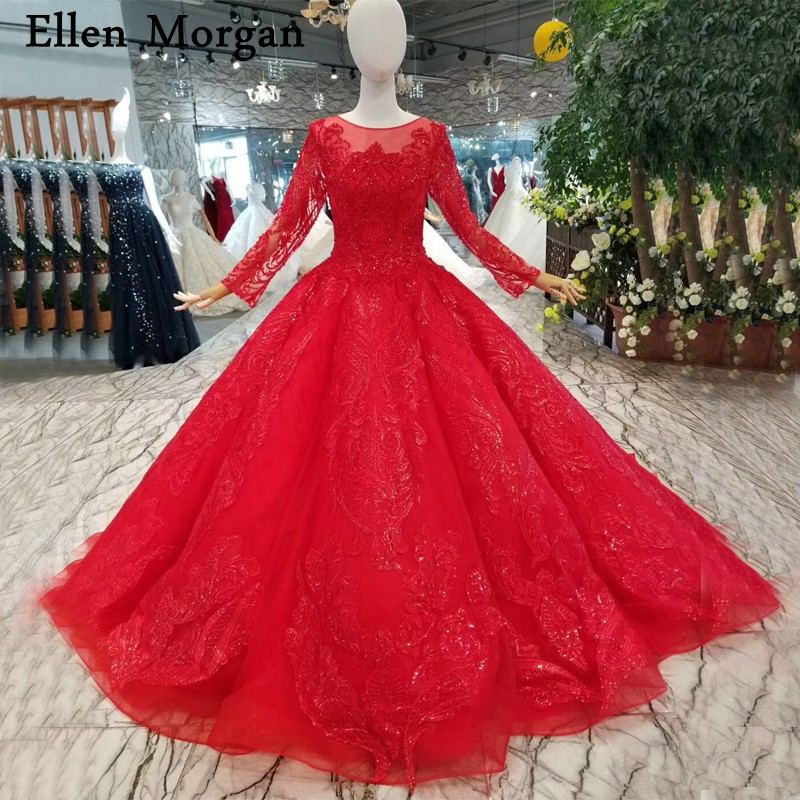 Vintage Red Lace Ball Gowns Wedding Dresses For Women Long Sleeves Court Train Shiny Custom Made Bridal Gowns 2019
