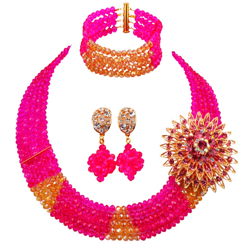 New Design African Style Fuchsia Pink Champagne Gold AB Women and Girls Crystal Beads Jewelry Sets for Anniversary 5C-SJ-07