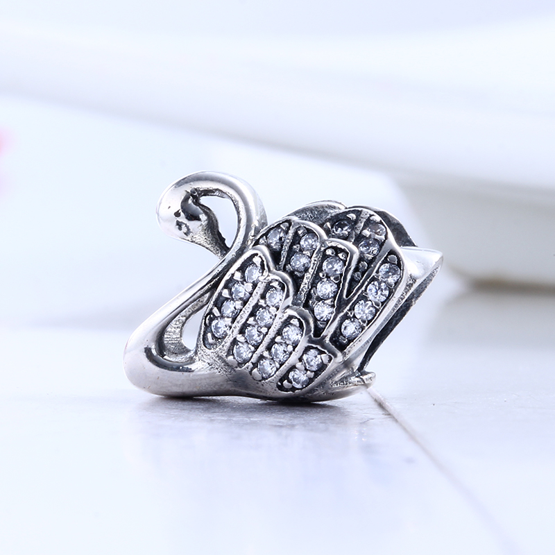 100% 925 Sterling Silver Fit Original Pandora Bracelet Luxury Pave Clear CZ Cute Goose Charm Beads for Jewelry Making Gift