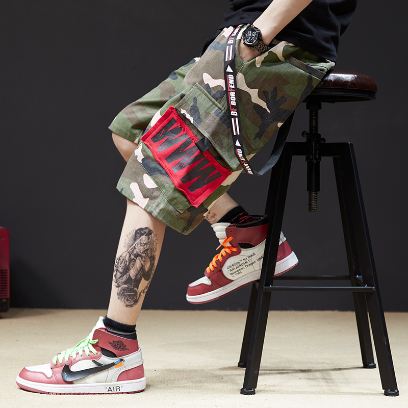 Pockets Elastic Waist Mens Streetwear Shorts Baggy Jogger Gasp Hip Hop Mens Summer Short Hip Hop Camouflage Men Clothing S6T4