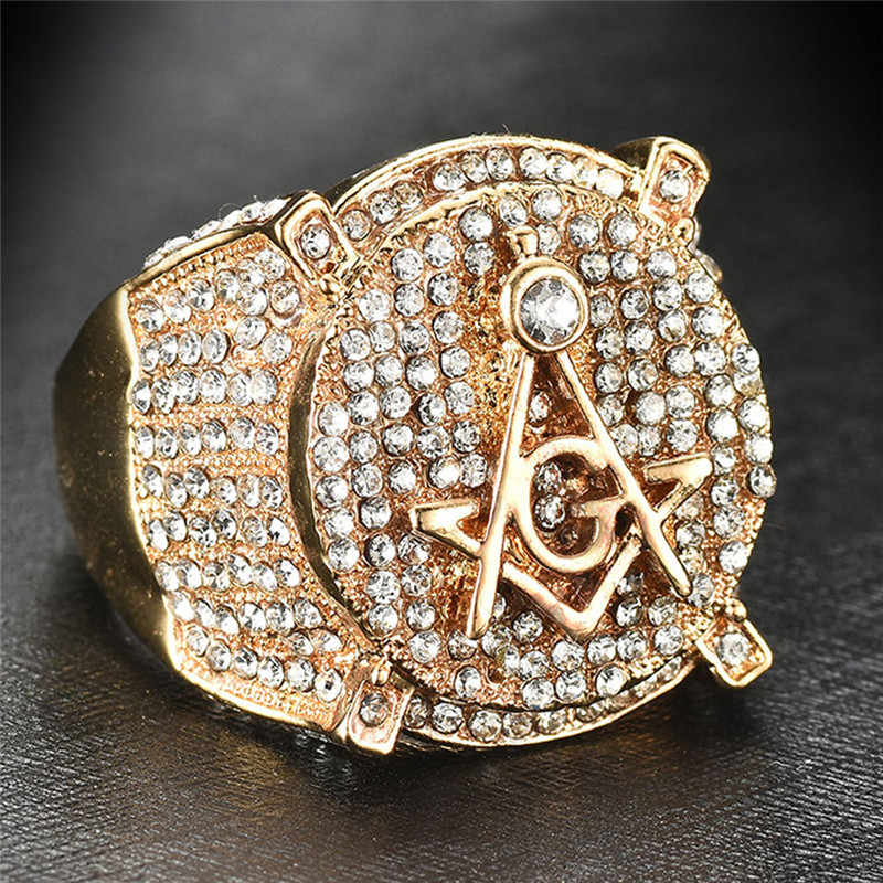 AAA CZ Zircon Ice Out Bling Big Wide Masonic Ring Gold Filled Copper  Material Freemasonry Rings fc5398b261f8