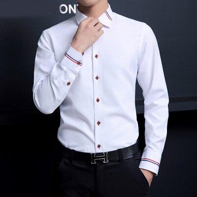 5XL 2017 New Men Dress Shirts Brand Clothing Fashion Camisa Social Casual Men Shirt Slim Fit Long-Sleeve Camisa Masculina MC274