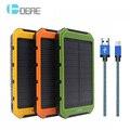 Dcae portatil solar banco de la energía 10000 mah dual usb batería externa powerbank cargador portátil con luz led para iphone 7 xiaomi