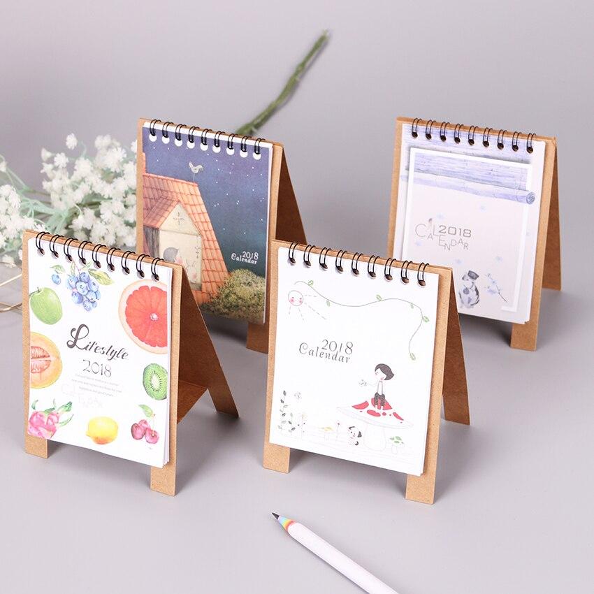Mini Cartoon Animals Series Desktop Paper Calendars Learning Memo Schedule Table Planner Yearly Agenda Organizer