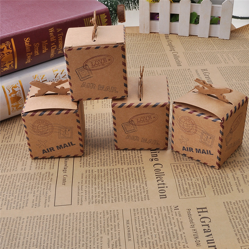 12pcs lot diy candy boxes air mail brown kraft paper gift box
