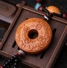 Chinese Peach Wood Carved Animal Flying Bird Auspicious Clouds Safe And Good Luck Buckle Exquisite Car Pendant Statue Gift