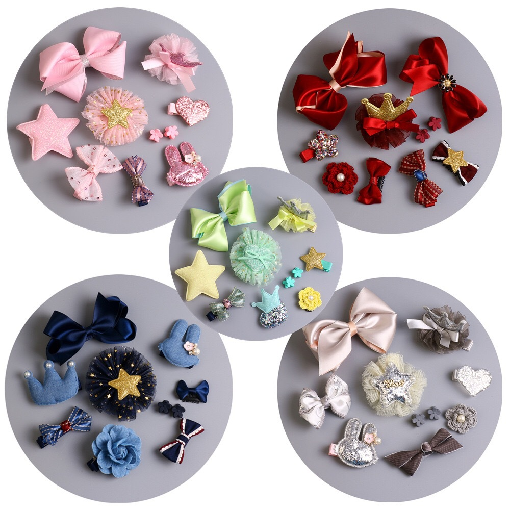 10 pcs Cute Little Girls Hairpins Cartoon Character Hair Clips Bow Knot  Crown Elastic Hair Band Kids Hair Accessories Set 1piece retail kids girl styling tools crown hair clips princess hairpins bow headbands for party accessories
