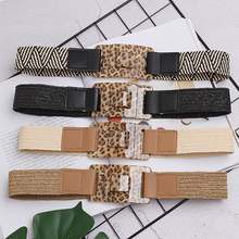New Vintage Knitted Wax Rope Wooden Bead Waist Women Smooth Buckle Belt Woman Woven Female Hand-Beaded Braided BZ76