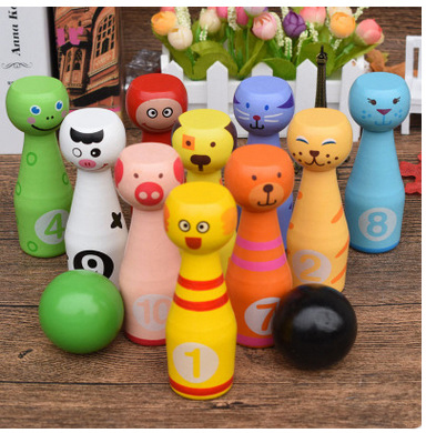 MamimamiHome Baby Parent-Child Wooden Toys New Cartoon Animals Flat Head Large Bowling Children's Fitness Toys Building Blocks mamimamihome baby toys wooden roller carts children building blocks push cart child walker montessori toys building blocks