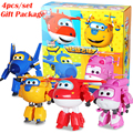 4pcs/set 15cm New Packing Super Wings Deformation Airplane Robot Action Figures Super Wings Transformation toy for children gift