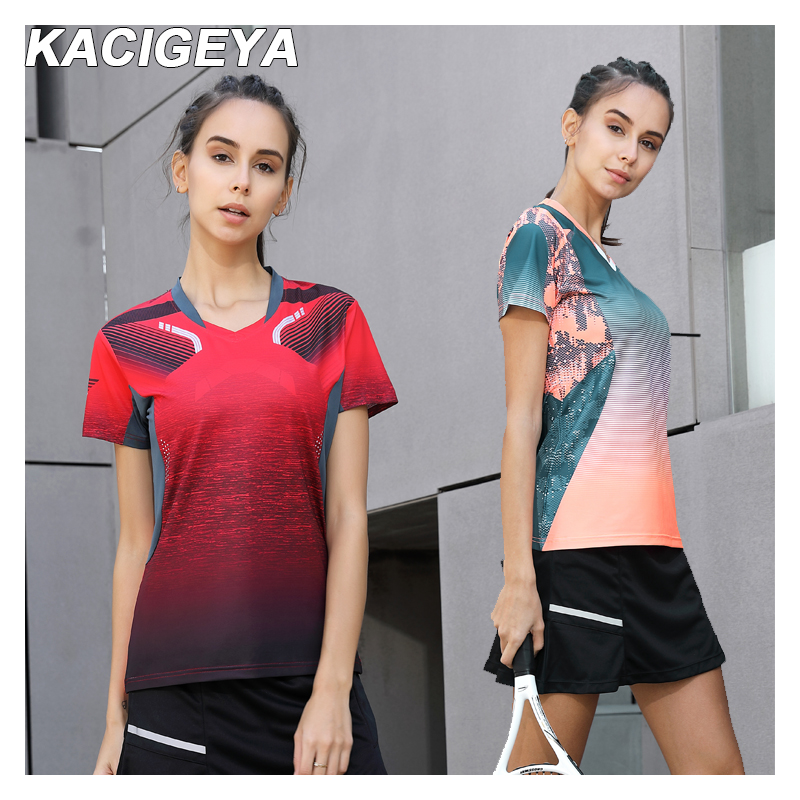 Badminton Shirt Sports Women Brand Quick Dry Breathable Table Tennis Team Running Fitness Exercise 2019 Training T Shirts