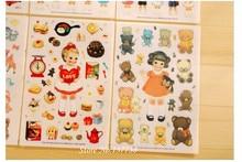 Hot Sale 6 sheets set Cartoon Cute Curly Hair Paper Doll Mate Life Decorative Sticker DIY