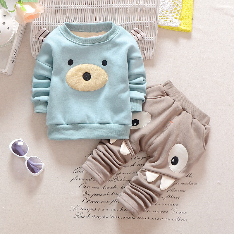 Anlencool 2018 Baby Boy Girl Clothing Set Winter Warm Velvet Newborn Top+Pants 2pc Suit Long Sleeve Infant Baby Clothes Set милашка короткие бирюза