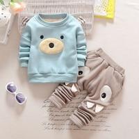 M F Fashion Cartoon Baby Boy Girl Clothing Set Winter Warm Velvet Newborn Top Pants 2pc