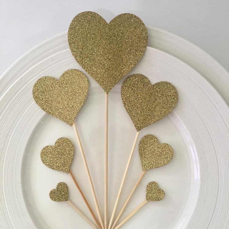 6pcs Love Card  Beautiful Creative Cake Decoration Cut Card Wedding Love Red Birthday Cake Cut Card
