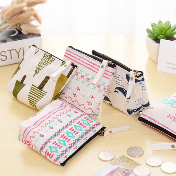 eTya 1PCS Women Casual Cartoon Canvas Coin Purse Change Holder Bag Children Party Gift Cartoon Cute Coin purse coin wallet bag