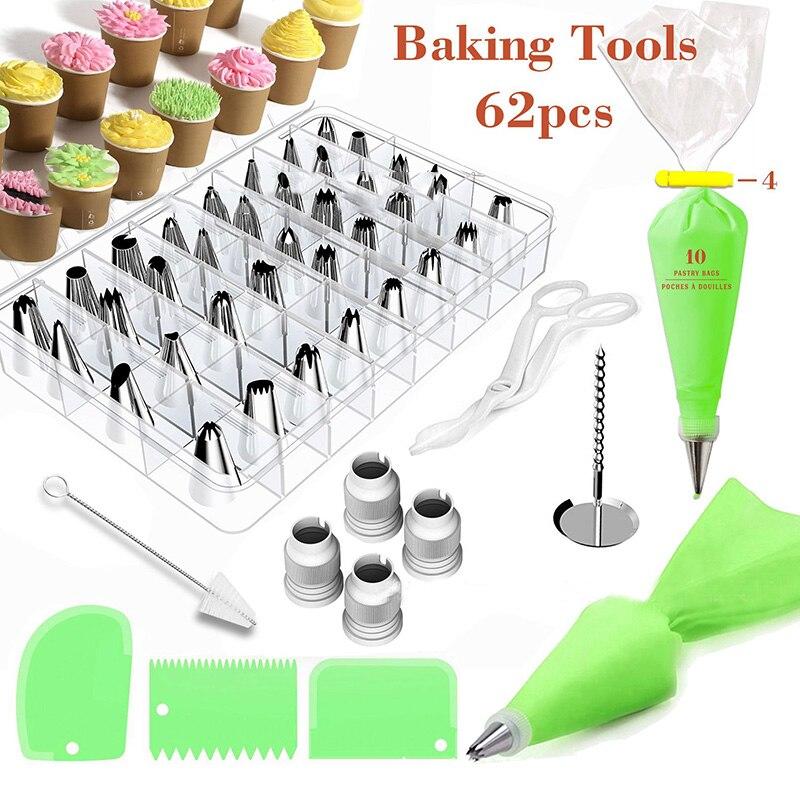 62 Pcs/Set Icing Piping Cream Pastry Bag Nozzle Set DIY ...