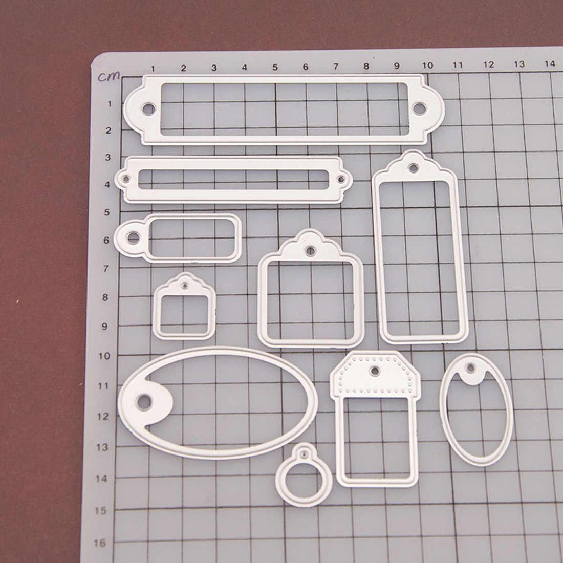 10Pcs Carbon Steel Silver Label Cutting Dies Stencils for DIY Scrapbooking Album Paper Card Decorative Craft Embossing Die Cuts