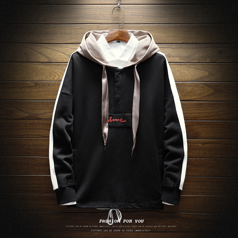 Hip-Hop Style Hooded Pullovers Mens Spring Autumn Loose Hoodies Sweatshirts New Fashion Male Sportswear Striped Sweatshirts