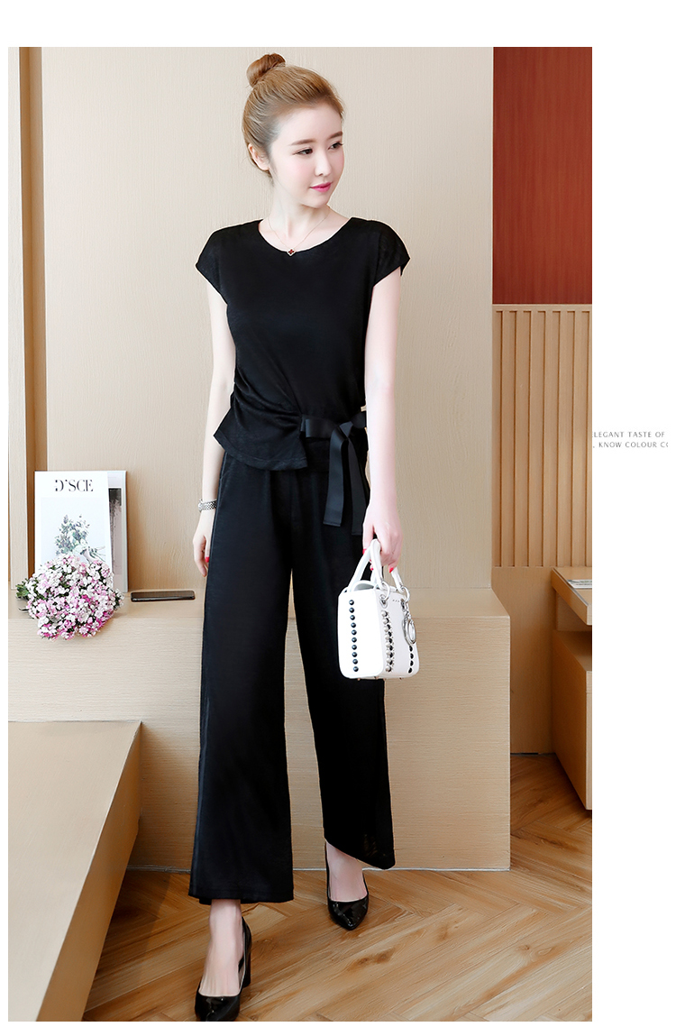 Plus Size Summer 2 Piece Sets Women Short Sleeve Bow Tops And Wide Leg Pants Sets Suits Casual Fashion Women's Two Piece Sets 38