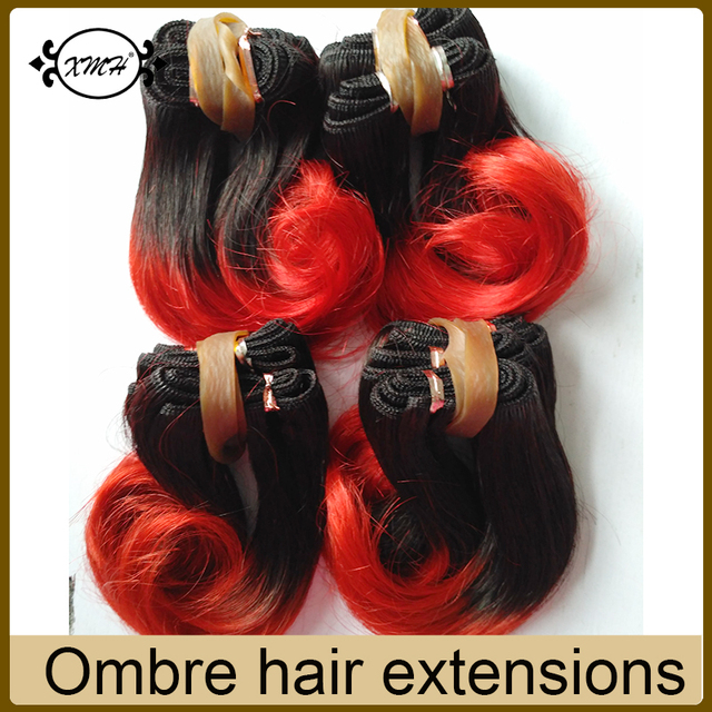 Hot Sale Cheap Human Short Hair Pieces T1b Red Grey 27 30 Ombre
