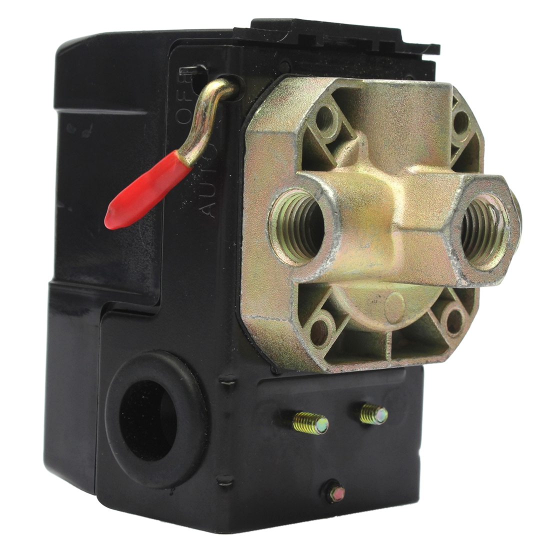 90-125PSI 4 Port 26 AMP Pressure Switch Control Valve Air Compressor Heavy Duty Black heavy duty air compressor pressure control switch valve 90 120psi 12 bar 20a ac220v 4 port 12 5 x 8 x 5cm promotion price