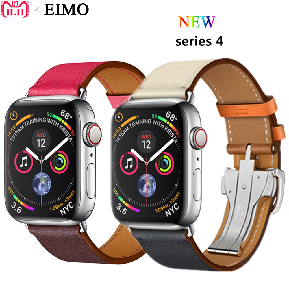 все цены на EIMO Deployment Buckle For Apple watch series 4 44mm 40mm Leather strap aple watch band 42mm/38mm iwatch 4/3/2/1 wrist Bracelet онлайн