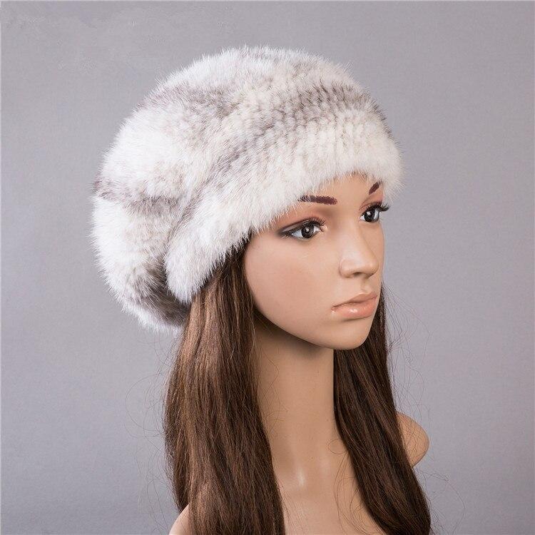 Natural mink fur hat for women winter autumn warm knitted fur hats 5 colors gray white black fur beret H143