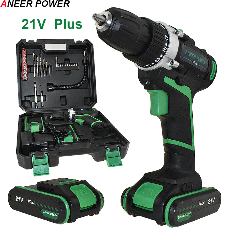 21v Plus Power Tools Electric Drill Drilling Battery Screwdriver Drill 2pcs Batteries Cordless Drill Mini Electric